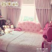 ins韓式公主風窗簾網紅抖音粉色窗紗蕾絲臥室遮光成品雙層布飄窗 可可鞋櫃 可可鞋櫃