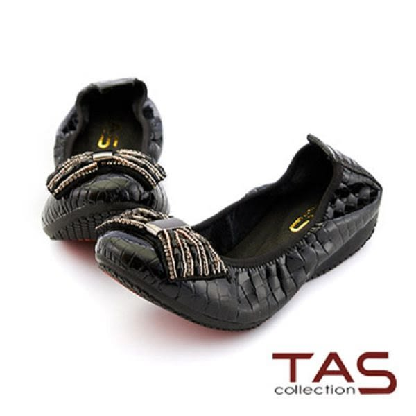 【↘5折】TAS 串珠蝴蝶結牛皮娃娃鞋-璀璨黑