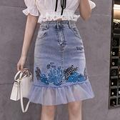 牛仔短裙 牛仔半身裙女2021新款夏季設計感小眾高腰刺繡網紗拼接魚尾一步裙 小天使