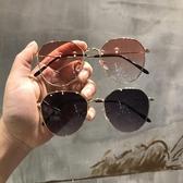 墨鏡女透明粉色新款網紅橢圓形太陽鏡ins韓版復古方框眼鏡女 韓國時尚週