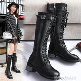 長靴女秋冬新款皮靴高跟韓版百搭黑色女式靴子粗跟高筒騎士靴 溫暖享家