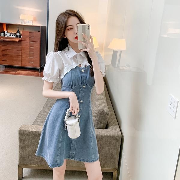VK精品服飾 韓系木耳花邊拼接牛仔修身收腰優雅短袖洋裝