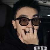 韓版復古茶色墨鏡男2021新款黑框方形圓臉太陽鏡女潮防紫外線眼鏡 晶彩