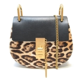 Chloe 克羅伊 黑色牛皮豹紋斜背包 Drew Leopard Print Shoulder Bag【BRAND OFF】