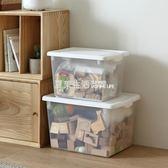 塑料收納箱置物箱透明儲物箱手提收納盒箱子大號有蓋『夏茉生活』YTL