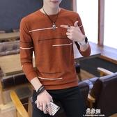 秋冬季男士毛衣加絨加厚圓領修身打底針織衫青年韓版潮流毛線衣男 易家樂