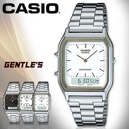 CASIO 卡西歐手錶專賣店 AQ-230A-7D 男錶 白面丁字 雙顯錶 不鏽鋼錶帶 日期 碼表 鬧鈴 兩地時間 生活