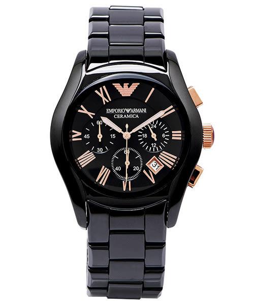 EMPORIO ARMANI Ceramica 巔峰奢華陶瓷三眼黑色男性手錶飾品 (AR1410) -黑面X黑色/42mm