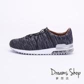 大尺碼女鞋-夢想店-MIT台灣製造透氣布料綁帶輕量氣墊鞋2.5cm(41-44)【JD8708】黑色
