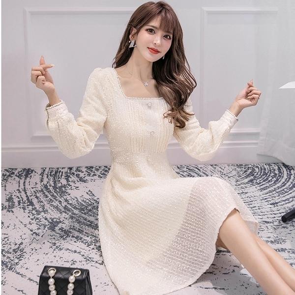 方領格紋蕾絲腰身膝上約會洋裝[99106-QF]美之札-優雅收腰雪紡洋裝