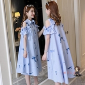 孕婦洋裝 2020夏款夏裝孕婦洋裝上衣夏季時尚款孕婦裝潮辣媽個性夏天裙子 4色