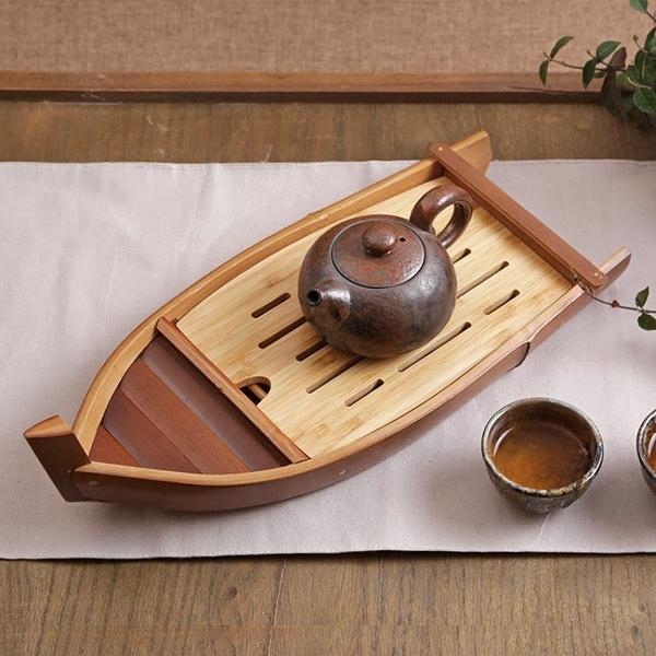 一葉扁舟儲水式竹茶盤 排水茶海竹筏 箱式茶臺干泡