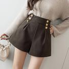 VK精品服飾 韓國風時尚寬鬆腰部金屬釦寬口氣質單品短褲