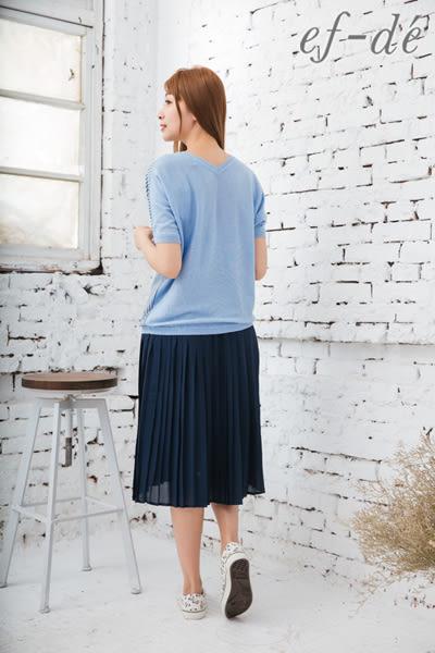 【ef-de】激安 直紋x蝴蝶結縮口針織衫(粉/深藍/淺藍)