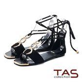 TAS  金屬扣環繫帶編織長綁帶涼鞋-摩登黑