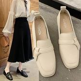 英倫女鞋中跟小皮鞋女一腳蹬鞋子女年新款仙女風單 快速出貨