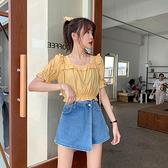 S-5XL牛仔裙褲~牛仔裙褲女~大碼高腰半身裙百搭顯瘦闊腿A字百搭短裙99275.BF14F日韓屋