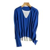 羊毛衫-雙層假兩件薄款寬鬆針織女毛衣5色73yv27【時尚巴黎】