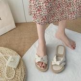 夏天溫柔配裙子拖鞋仙女風IG熱門款潮2020年新款夏季學生百搭平底沙灘