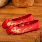 新款秀禾鞋新娘婚鞋女紅色