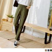 《BA4357》高含棉腰鬆緊裝飾釦直筒褲 OrangeBear
