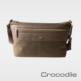 【Crocodile】WIND系列皮配布橫式斜背包 0104-6004