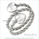 鋼戒指 西德鋼飾「鋼索雙愛心」鋼索造型...