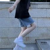牛仔短褲女夏高腰a字闊腿中褲寬鬆五分褲【聚物優品】