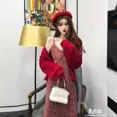 洋裝氣質碎花吊帶洋裝女秋季新款韓版高腰修身顯瘦中長款裙子潮(快速出貨)