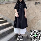 連身裙連衣裙女裝學生收腰長裙顯瘦法式小眾裙子【海闊天空】
