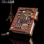 歐式創意手賬本復古手帳本日記本蒸汽朋克筆記本訂製logo禮盒套裝「Chic七色堇」