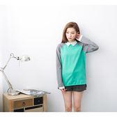 【2%】2%拼色學院風前短後長上衣-綠