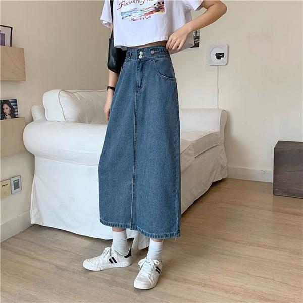 EASON SHOP(GW6240)實拍水洗丹寧磨白下襬開衩腰間多鈕釦設計收腰牛仔裙女高腰長裙過膝裙中長款A字裙