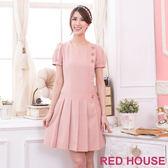 【RED HOUSE-蕾赫斯】金釦百摺裙洋裝(粉色)