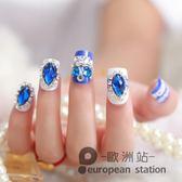 假指甲/24片裝藍色指甲貼片新娘美甲 影樓拍照甲片 新娘片