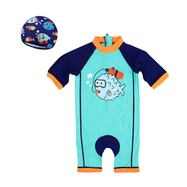 男童泳衣 男童卡通連身泳衣 男孩寶寶防曬泳裝 附泳帽 88317