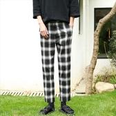 找到自己 MD 時尚 男 韓國 經典 復古 格子 休閒百搭舒適 小腳褲 九分褲 休閒褲