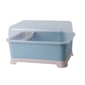 碗筷收納箱  廚房碗櫃塑膠瀝水碗架帶蓋碗筷餐具收納盒放碗碟架滴水碗盤置物架 3色