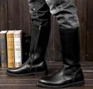 馬丁靴 男女皮靴男鞋COSPLAY動漫游戲騎馬靴儀仗隊長靴馬丁靴子黑色【快速出貨八折下殺】