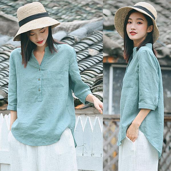 襯衫-高端砂洗純苧麻豆灰綠/設計家 W8726