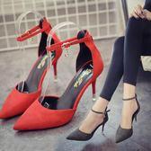 韓版時尚高跟鞋尖頭細跟鞋一字扣帶性感單鞋女鞋