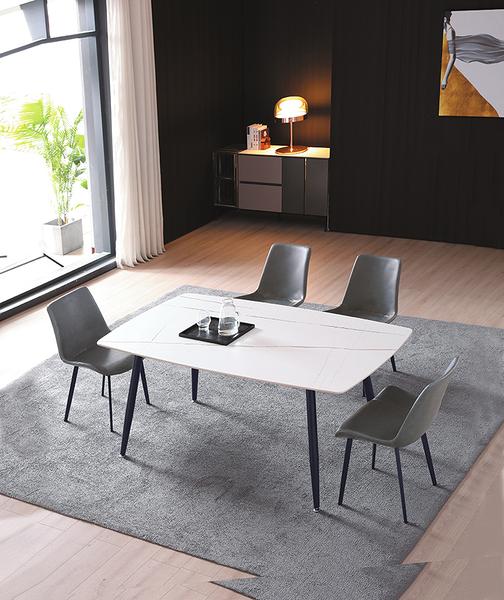 735-2 SK30岩板 大理石白140餐桌 (黑砂腳) W140×D80×H74公分