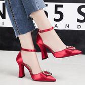 中大尺碼 新款尖頭綢緞高跟鞋中空一字帶單鞋婚鞋伴娘鞋 ZQ586【衣好月圓】
