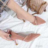 高跟鞋韓版百搭秋季高跟鞋女尖頭細跟6cm少女公主伴娘鞋貓跟鞋    艾維朵