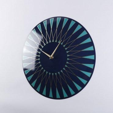 羅伊圓形藍綠放射壁鐘