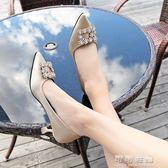 婚鞋女春秋季女鞋水鑽方扣單鞋紅色高跟鞋細跟綢緞貓跟高跟鞋 可可鞋櫃