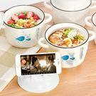 貓咪魚帶蓋雙耳陶瓷泡麵鍋 (750ml) HL9319 手機架泡麵碗 陶瓷碗 湯碗