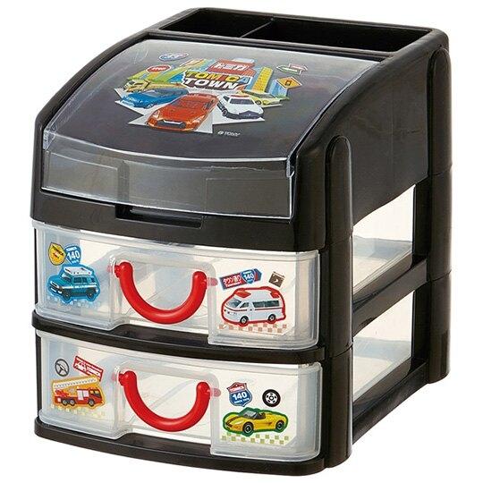 小禮堂 TOMICA小汽車 頂層掀蓋塑膠雙抽收納盒 抽屜盒 文具盒 飾品盒 (黑 排列) 4973307-41673