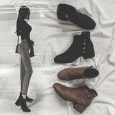裸靴短靴女春秋小跟粗跟單靴英倫正韓矮靴子女踝靴馬丁靴奈斯女裝