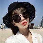 2018新款超黑墨鏡女韓版貓耳朵大框圓臉遮陽金屬太陽鏡反光粉眼鏡  百搭潮品